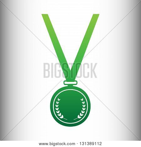 Medal simple Icon. Green gradient icon on gray gradient backround.