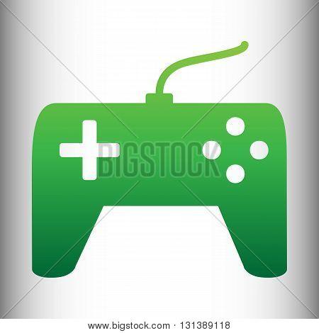 Joystick simple icon. Green gradient icon on gray gradient backround.