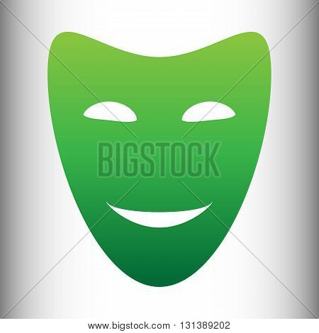 Comedy theatrical masks. Green gradient icon on gray gradient backround.