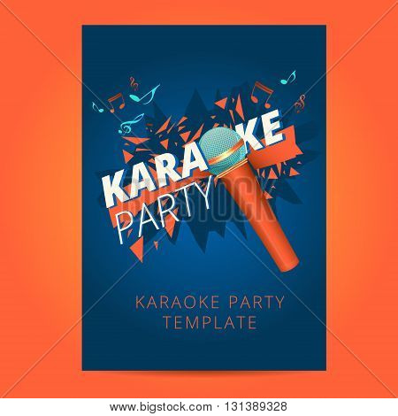 Karaoke party flyer poster template design, party background layout in a4 size
