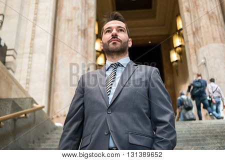 Businessman walking in Milan Central Station