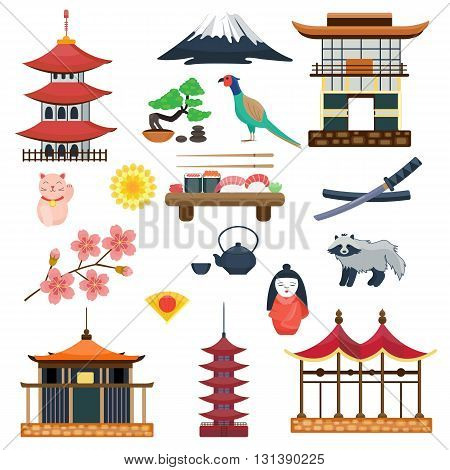 Japan vector collection. Japanese traditional symbols culture. Travel set. Sacura and Fuji, neko maneki and tanuki. Sushi and samurai sword, kizi and kimekomi ningyo. Flat cartoon illustration