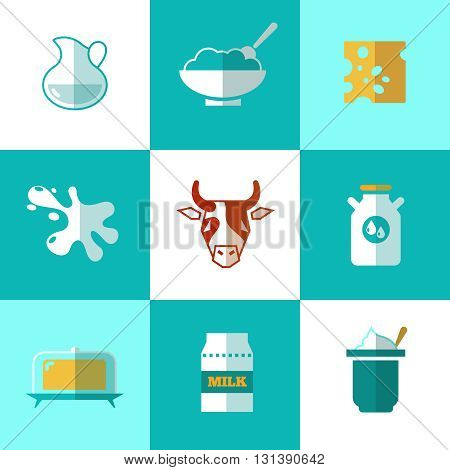 Flat milk and dairy products vector icons. Product made from milk, package container healthy milk for breakfast illustration
