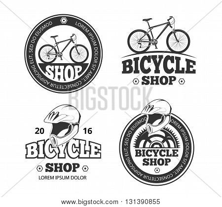 Retro bicycle shop logo set. Labels and badges for sport bike shop. Emblems for bike and bicycle shop
