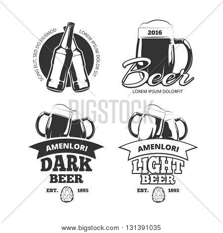 Vintage craft beer brewery vector emblems or labels. Beer alcohol beverage logo set with glass and bottle. Lager and ale beer badges for pub, vector illustration