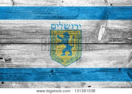 Flag Of Jerusalem, Painted On Old Wood Plank Background