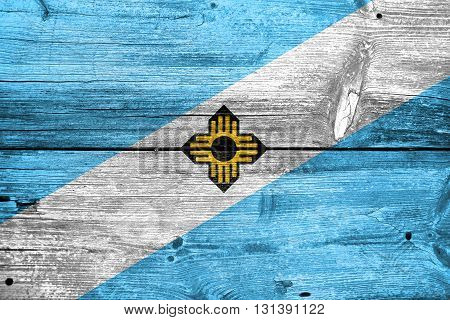 Flag Of Madison, Wisconsin, Painted On Old Wood Plank Background