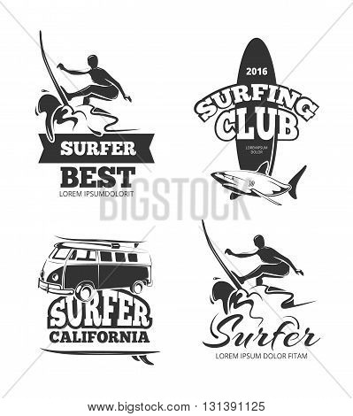 Vintage black surf graphics, emblems and labels. Logo surfing summer and surfboard and surfer badge, california surfing vacation. Vector illustration set