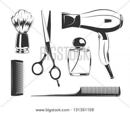 Vector black elements for barber shop labels. Comb and scissors, hair dryer and shaving brush vector silhouettes