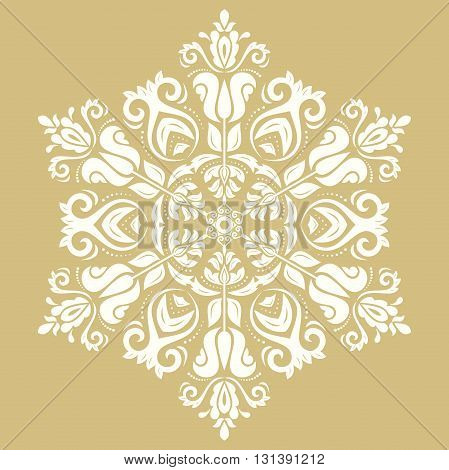 Oriental white pattern with arabesques and floral elements. Traditional classic ornament