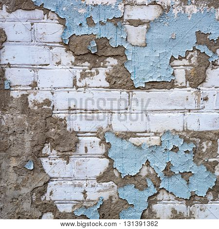 Grunge White Brick Wall Painted by Blue Color as Background