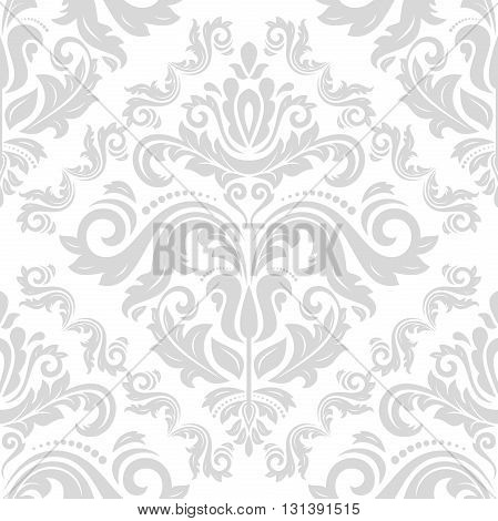 Damask seamless light silver ornament. Traditional pattern. Classic oriental background