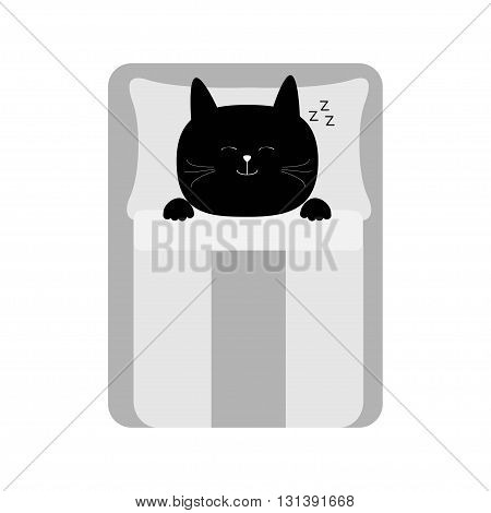 Sleeping cat. Baby pet animal collection for kids. Cute cartoon character. Bed blanket and pillow. White background. Isolated. Flat design. Vector illustration