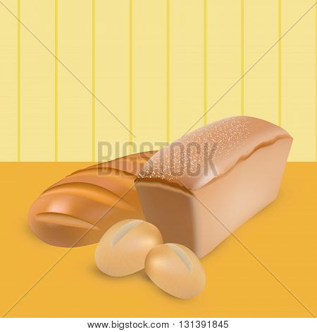 Set of wheat bread loaf and buns on yellow stripped background