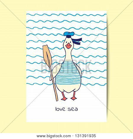 Design of cards with cute goose sailor. Vector illustration.