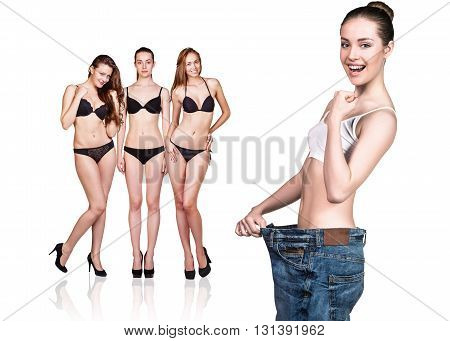 Woman became skinny and wearing old big jeans
