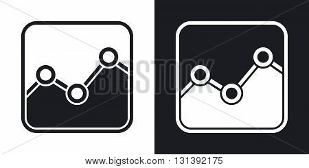 Vector stats icon. Two-tone version on black and white background