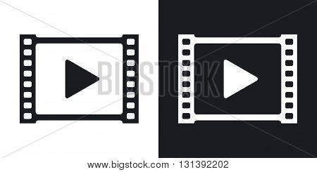 Vector video icon. Two-tone version on black and white background