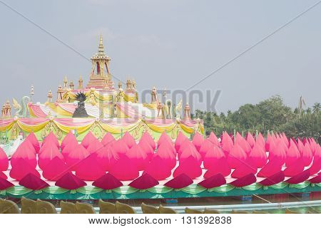 Krathong flower large building culture asian at temple Wat Saman Rattanaram relics Religious Chachoengsao Thailand.