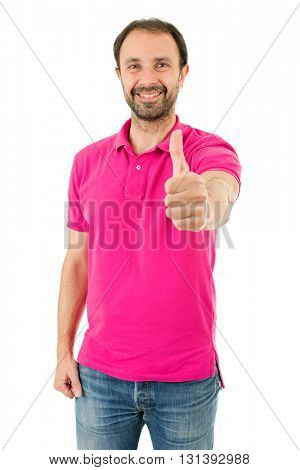 Young casual man going thumb up, isolated on white background