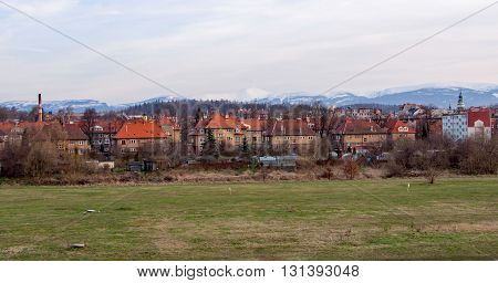 houses in front of the Giant Mountains in Jelenia Gora in Silesia, Poland