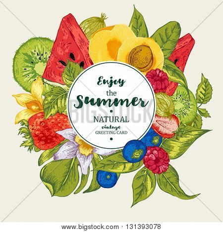 Tropical Summer Vintage Natural Healthy Food Eco Banner with Watermelon, Apricot, Kiwi, Vanilla and Berries, Vector Nature Summer Exotic Menu Fruits Card