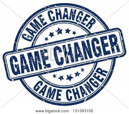 game changer blue grunge round vintage rubber stamp.