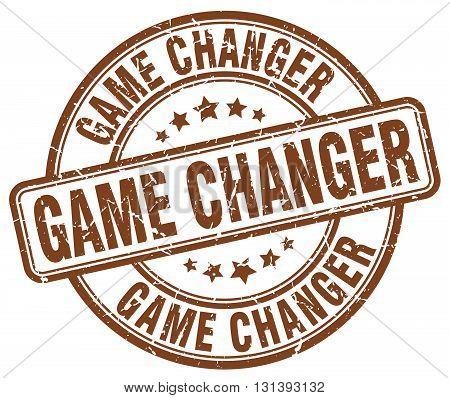 game changer brown grunge round vintage rubber stamp.