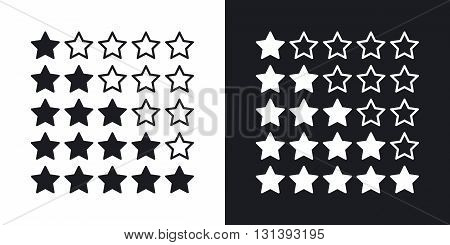 Vector stars rating icon. Two-tone version on black and white background