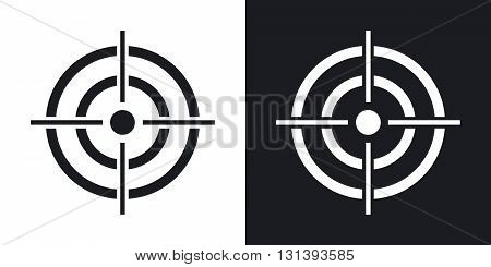 Vector target icon. Two-tone version on black and white background