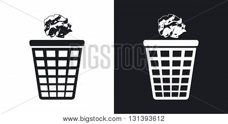 Vector trash basket icon with crumpled paper. Two-tone version on black and white background