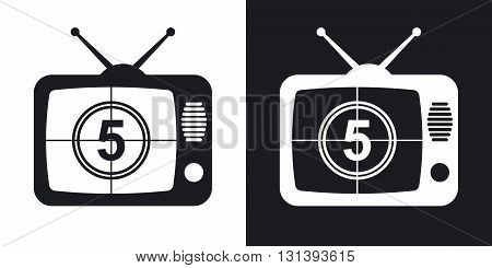 Vector TV icon. Two-tone version on black and white background