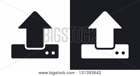 Vector upload icon. Two-tone version on black and white background