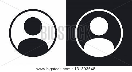 Vector user icon. Two-tone version on black and white background