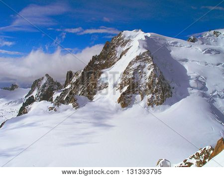 The majestic peaks of mountain range Mont Blanc France.
