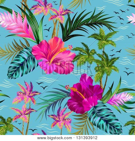 aloha style vector seamless pattern with vintage palms, hibiscus, water, birds, and other tropical elements.