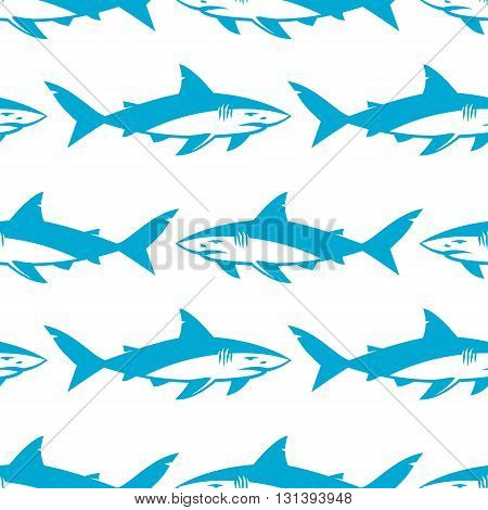 Sharks silhouettes seamless pattern. Isolated blue on white Background. Vector illustration.