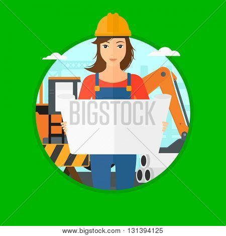 An engineer watching a blueprint at construction site. Woman with engineer blueprint. Engineer holding a blueprint. Vector flat design illustration in the circle isolated on background.