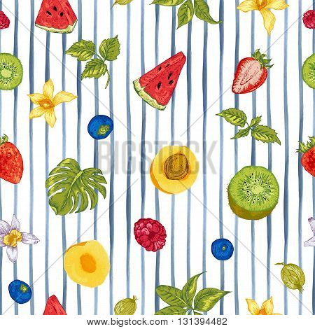 Tropical Summer Vintage Natural Healthy Food Eco Seamless Background with Watermelon, Apricot, Kiwi, Vanilla and Berries, Vector Nature Summer Exotic Menu Fruits Card on striped background