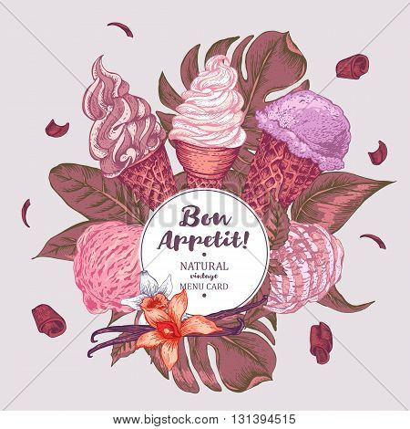 Tropical vector summer natural vintage food background with soft Italian fruit ice cream, summer exotic retro Bon appetit menu card