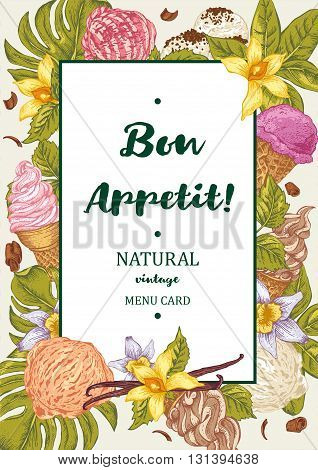 Menu fruit ice cream guest card. Tropical summer colorful flowers orchid and vanilla. Bon appetit vintage vector food illustration.