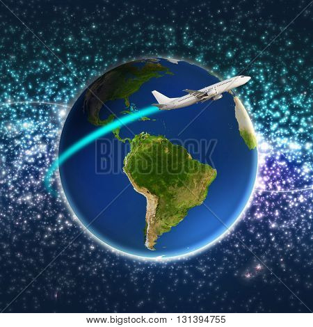 Airplane circling a colorful globe earth isolated on white. Elements of this image furnished by NASA