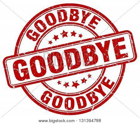 goodbye red grunge round vintage rubber stamp.
