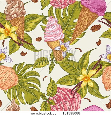Summer fruit ice cream seamless background. Tropical summer colorful flowers orchid and vanilla. Natural vintage vector food illustration.