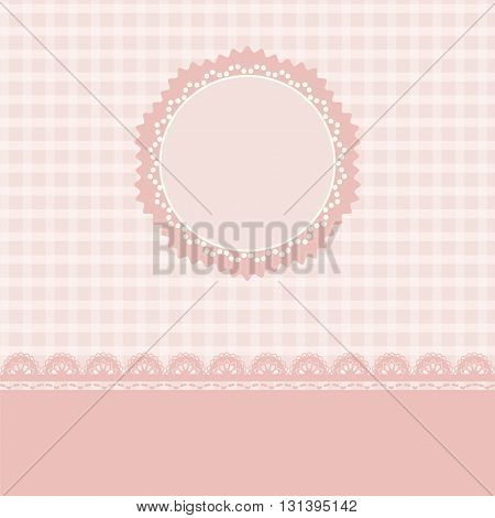 Lace and stripes pink background vintage style Greeting card template or background