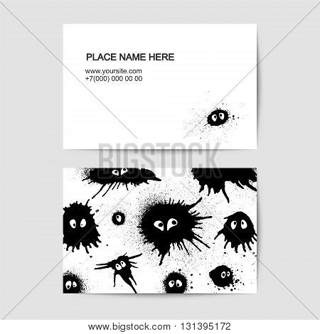 Funny visit cards with faces of blots