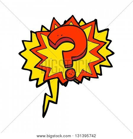 freehand drawn speech bubble cartoon question mark