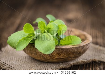 Vintage Wooden Table With Stevia Leaves