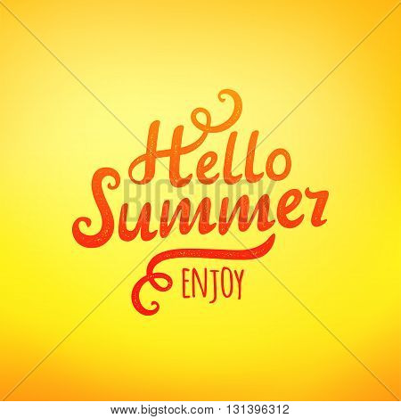Phrase Hello Summer typography inscription on yellow background. Vector illustration
