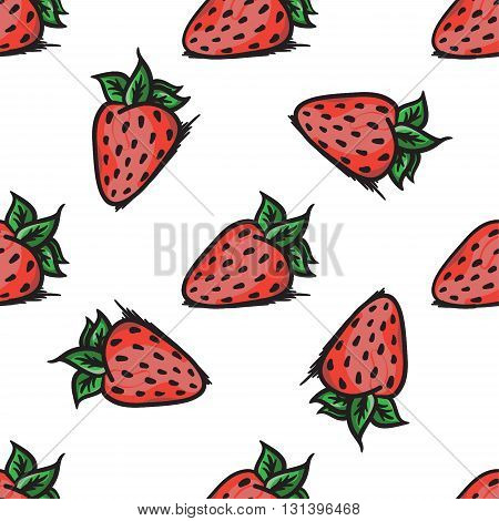 Vector Strawberry Seamless Pattern. Modern Texture. Repeating Endless Abstract Hand Drawn Background